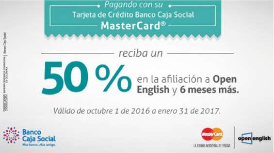 Ofertas de Banco Caja Social, 50% de descuento en Open English