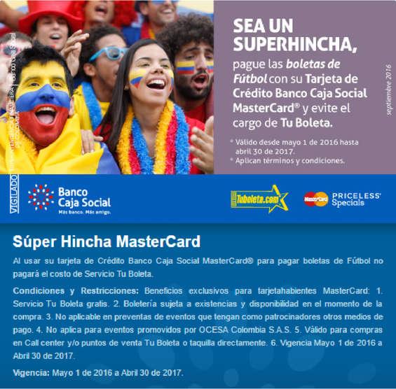 Ofertas de Banco Caja Social, Súper hincha MasterCard