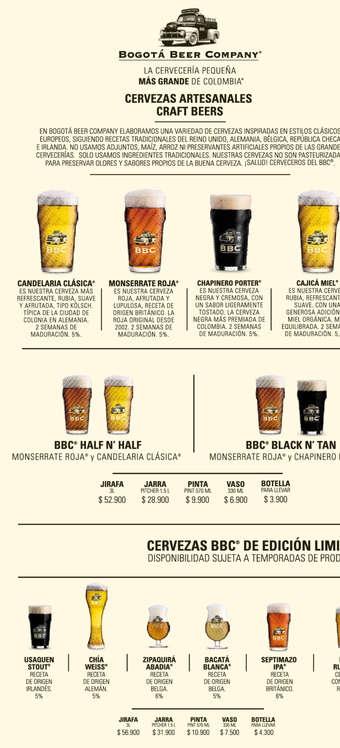 Ofertas de Bogotá Beer Company, Menú BBC