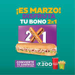 Ofertas de Sandwich Qbano, En Marzo disfruta tu bono 2x1