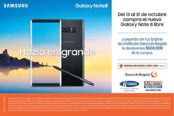 Ofertas de Banco de Bogotá, Samsung Galaxy Note8 - Hazlo en grande