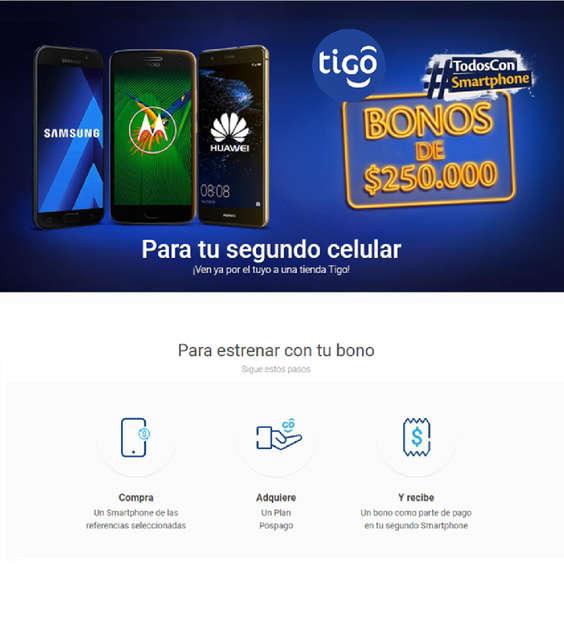 Ofertas de Tigo, Bonos de $250.000 para tu segundo celular