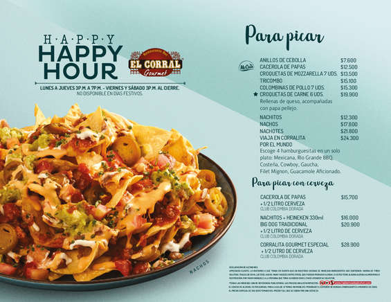 Ofertas de El Corral Gourmet, Happy Hour